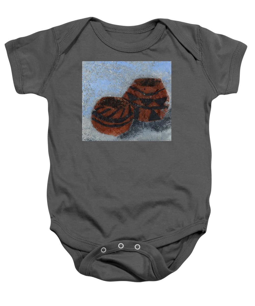 Pottery Baby Onesie featuring the mixed media Pots by Charla Van Vlack