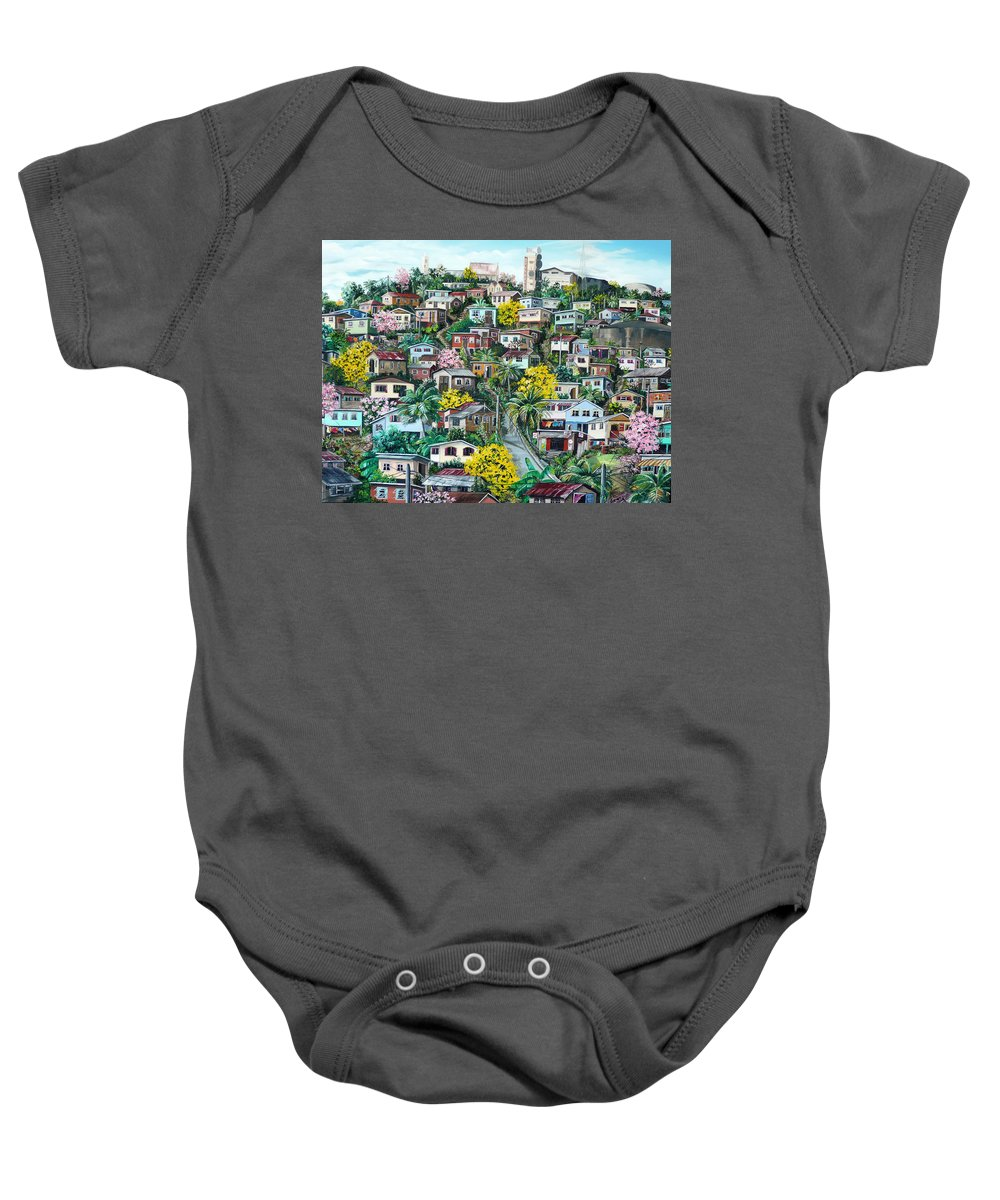 Landscape Painting Cityscape Painting Original Oil Painting  Blossoming Poui Tree Painting Lavantille Hill Trinidad And Tobago Painting Caribbean Painting Tropical Painting Baby Onesie featuring the painting Poui On The Hill by Karin Dawn Kelshall- Best
