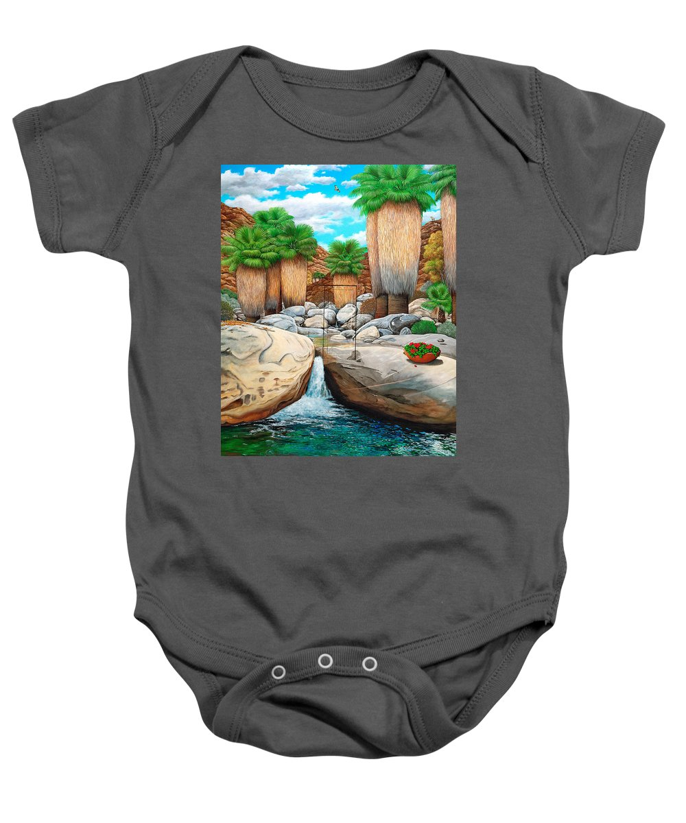 Landscape Baby Onesie featuring the painting Primary Escape Route by Snake Jagger