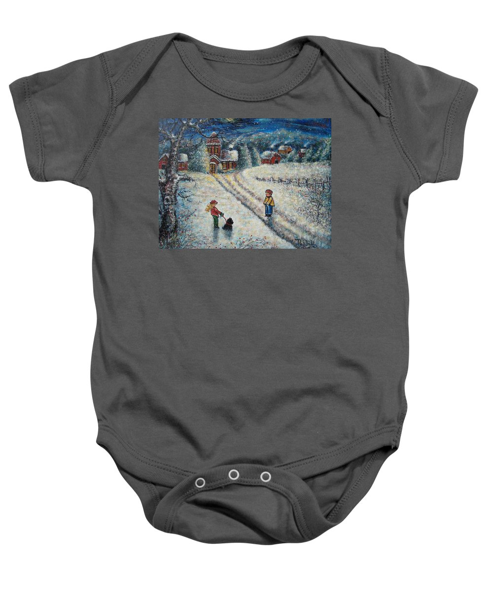 Landscape Baby Onesie featuring the painting Puff and Kassidy by Natalie Holland