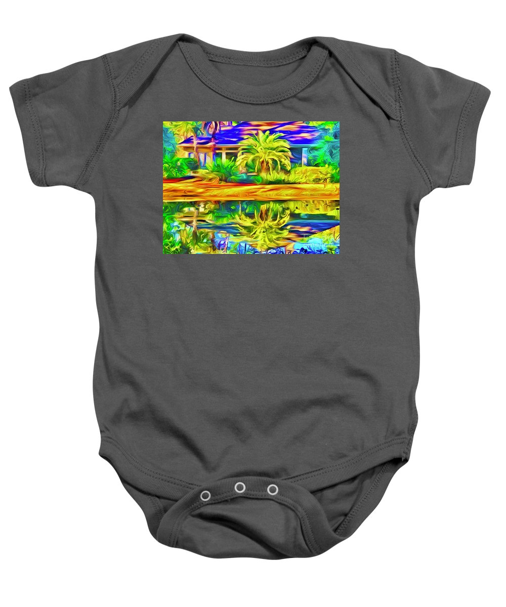 Landscape Baby Onesie featuring the digital art Reflecting Palm by Michael Stothard
