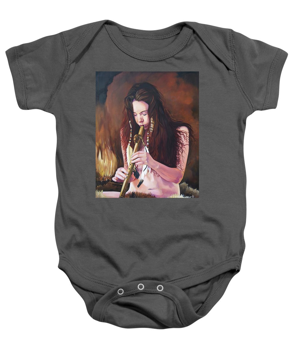 Southwest Art Baby Onesie featuring the painting Release by J W Baker
