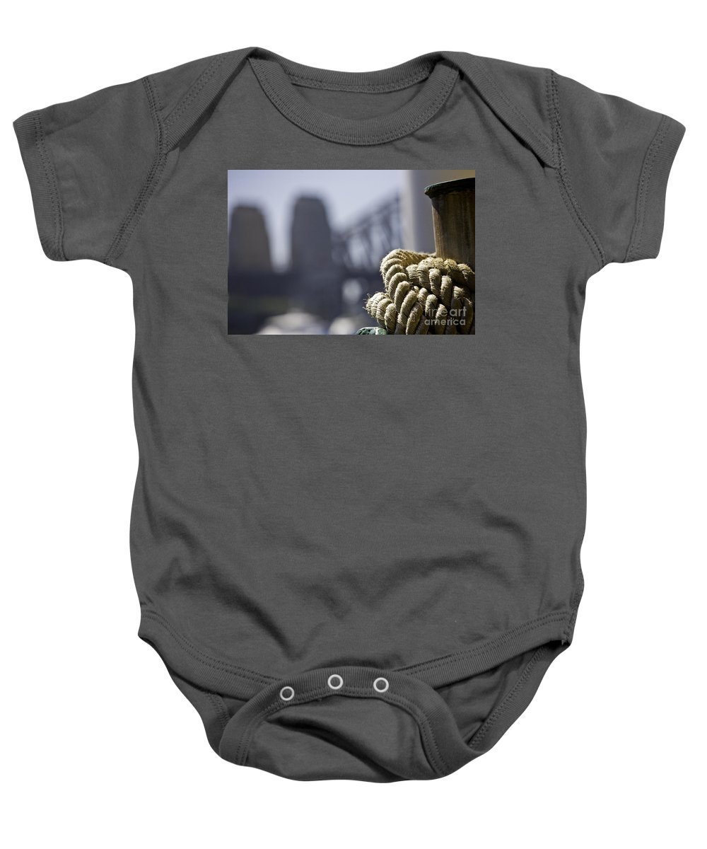Sydney Harbour Baby Onesie featuring the photograph Ropes with Harbour backdrop by Sheila Smart Fine Art Photography
