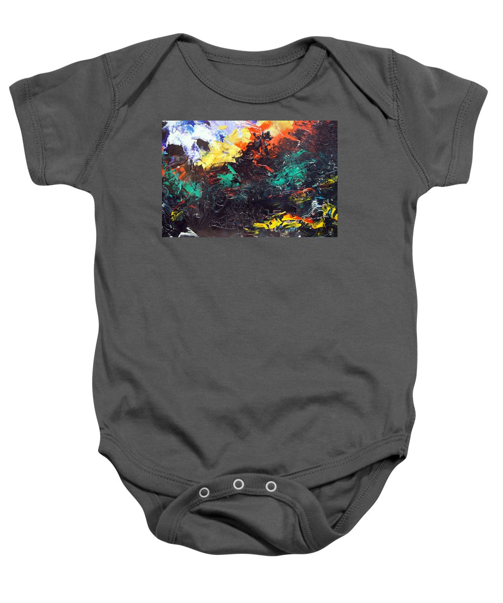 Vision Baby Onesie featuring the painting Schizophrenia by Sergey Bezhinets