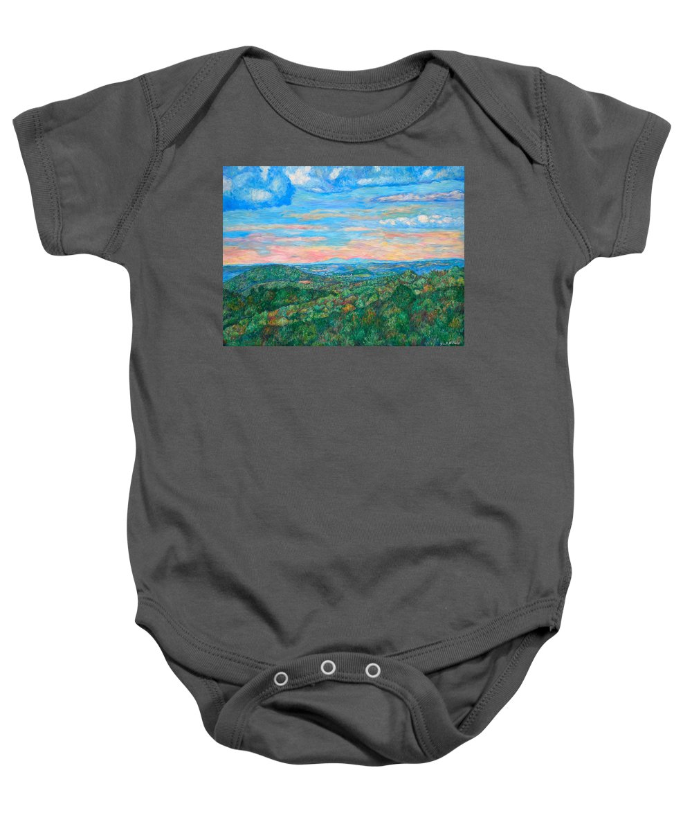 Landscape Baby Onesie featuring the Shadows on a Ridge Near Rocky Knob by Kendall Kessler