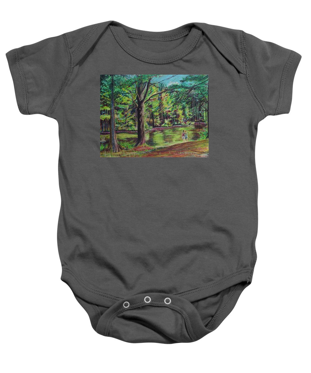 Family Baby Onesie featuring the pastel Sisters At Wason Pond by Sean Connolly