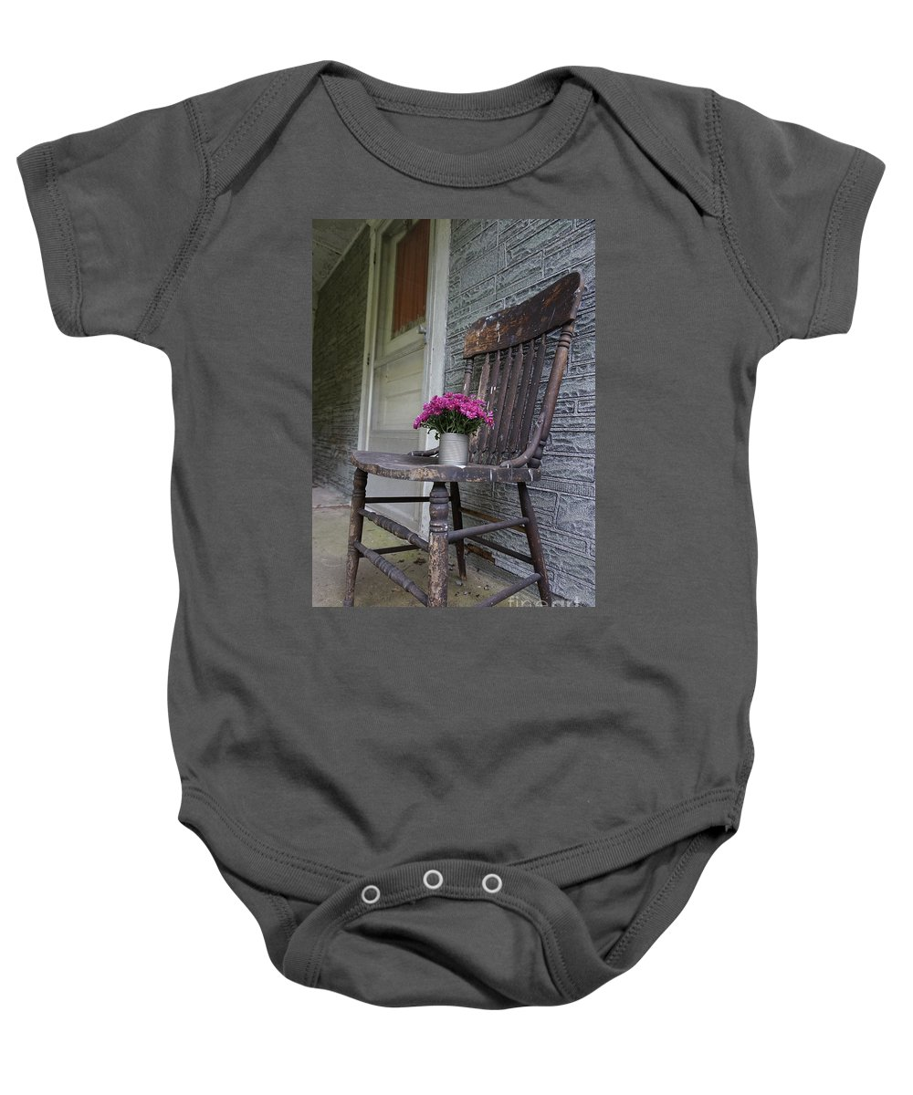 Wall Art Baby Onesie featuring the photograph Sit A Spell by Chris Naggy