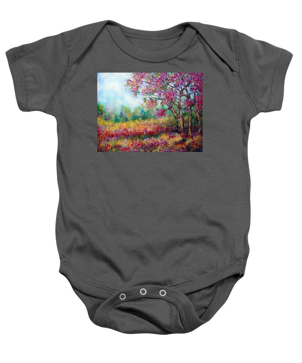 Landscape Baby Onesie featuring the painting Spring by Natalie Holland