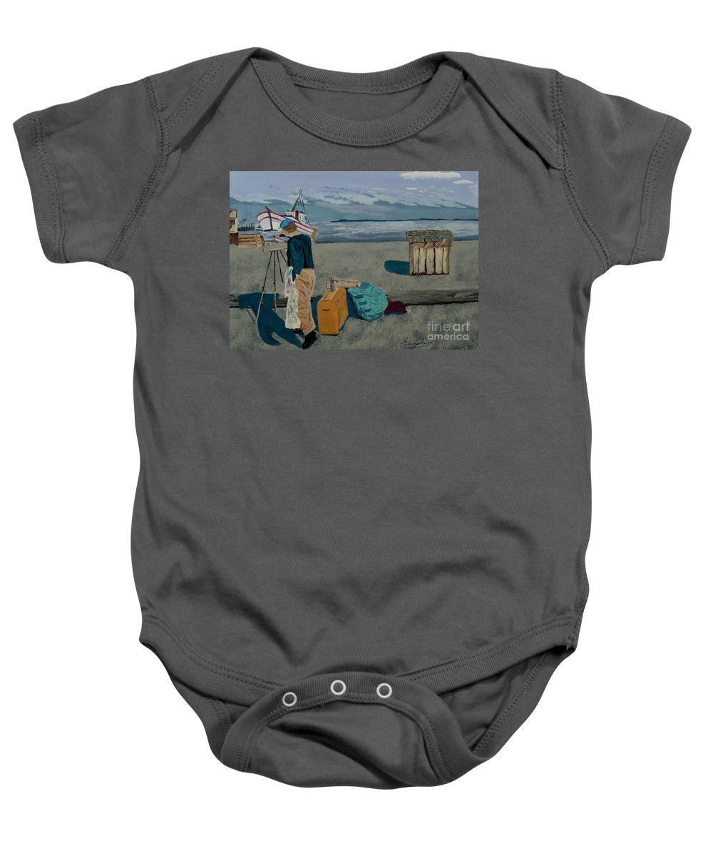 Artist Baby Onesie featuring the painting The Artist by Anthony Dunphy