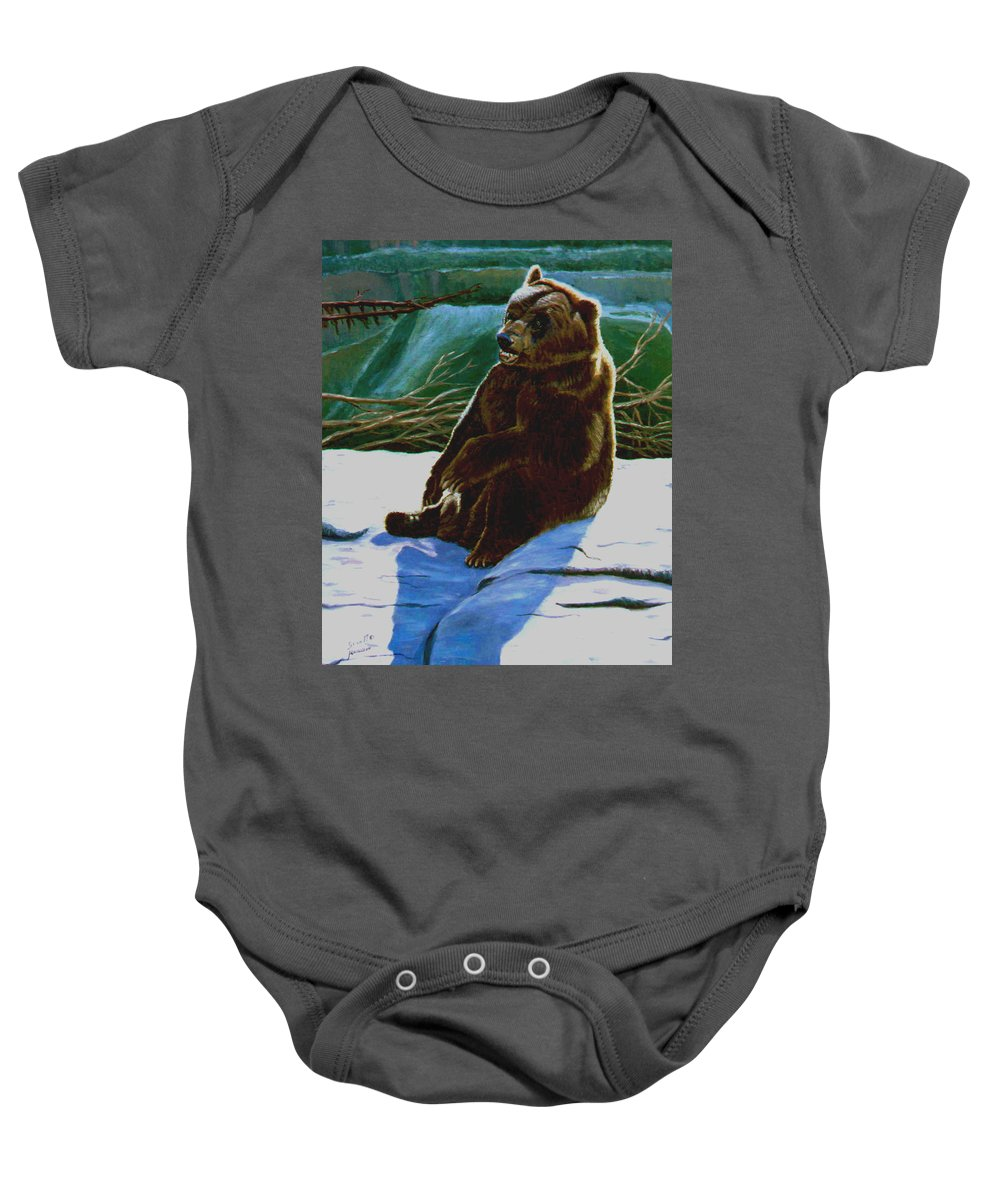 Original Oil On Canvas Baby Onesie featuring the painting The Bear by Stan Hamilton