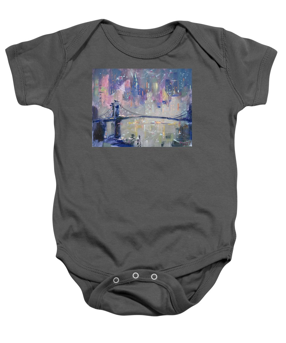 Ny City Baby Onesie featuring the painting The City That Never Sleeps 2 by Ylli Haruni