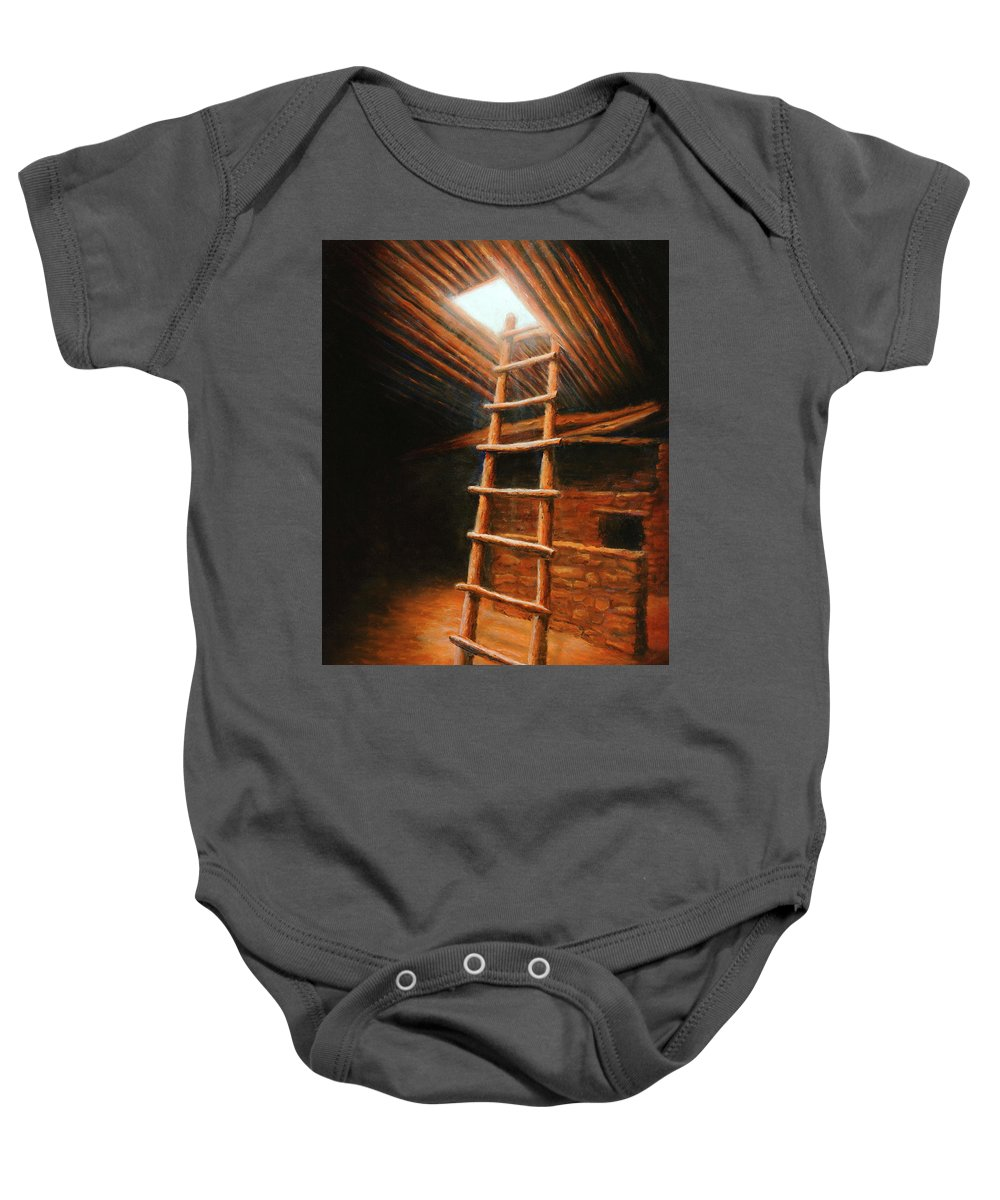 Kiva Baby Onesie featuring the painting The Second World by Jerry McElroy