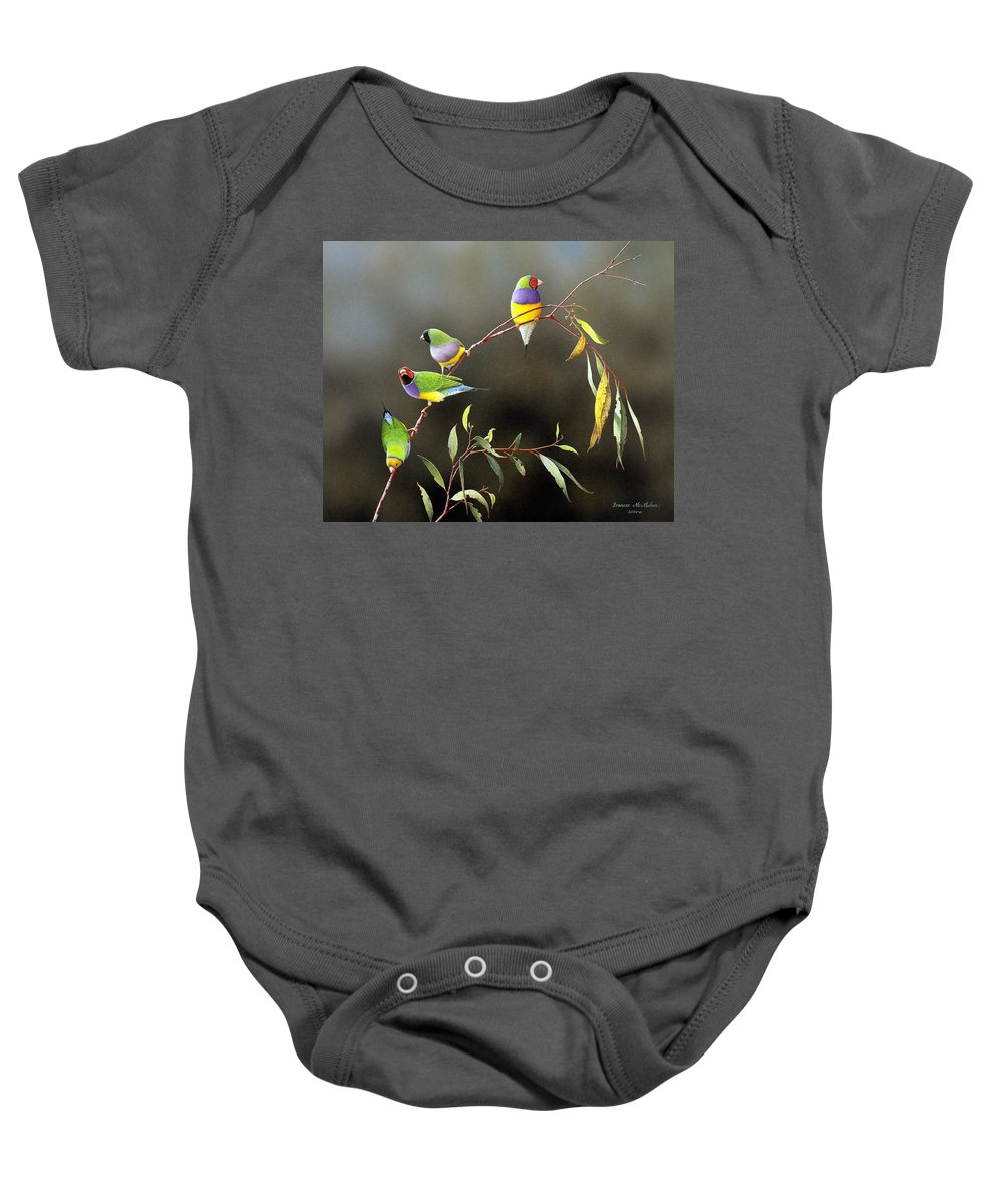 Bird Baby Onesie featuring the painting Three Guys for Every Girl - Gouldian Finches by Frances McMahon
