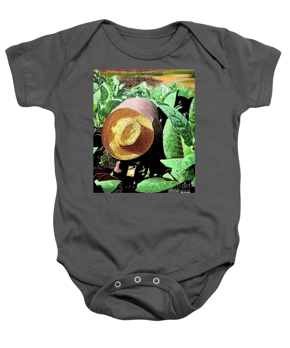 Tobacco Baby Onesie featuring the painting Tobacco Picker by Jose Manuel Abraham