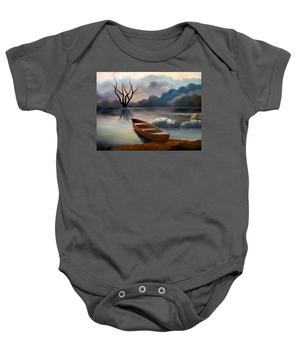 Duck Baby Onesie featuring the painting Tranquility by Sergey Bezhinets