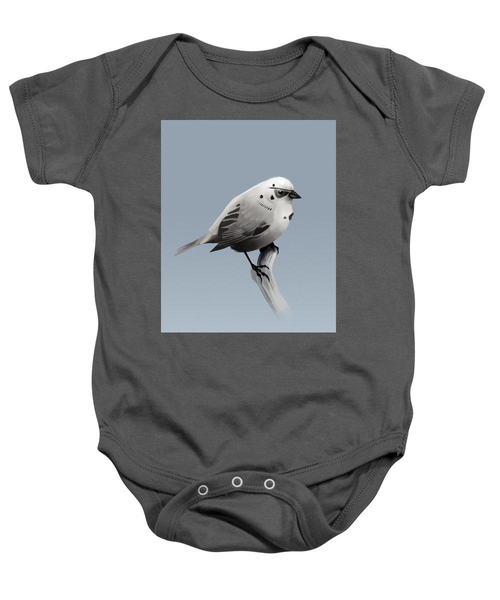 Birds Baby Onesie featuring the digital art Trooper Bird Flipped by Michael Myers