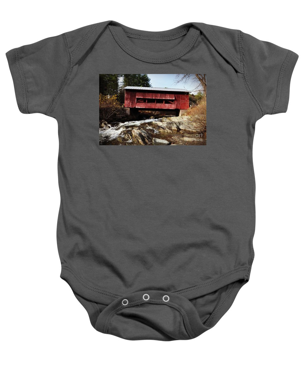Historic Baby Onesie featuring the photograph Upper Cox Covered Bridge Vermont by Eric Liller