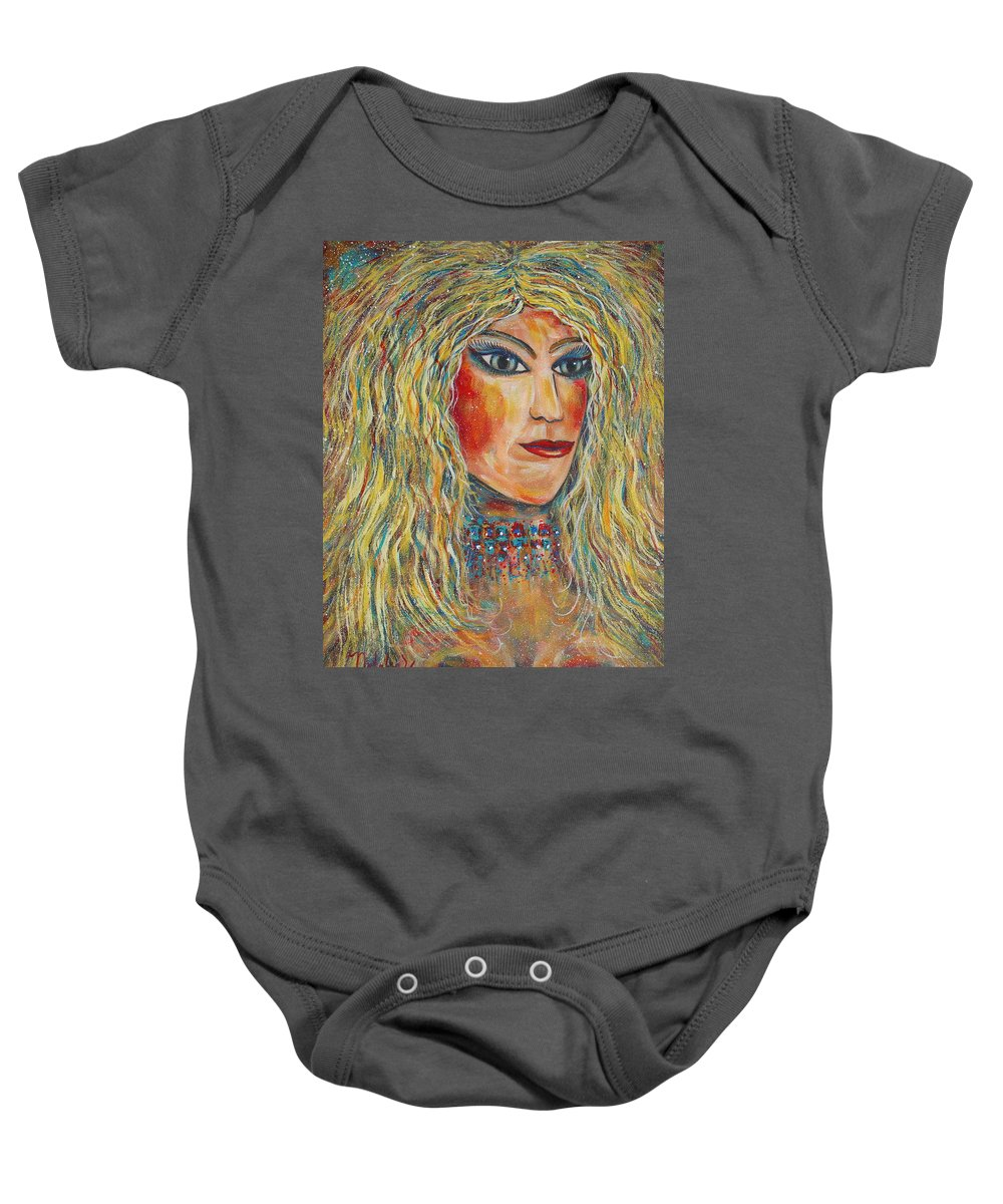 Nude Baby Onesie featuring the painting Wild Jungle Woman by Natalie Holland