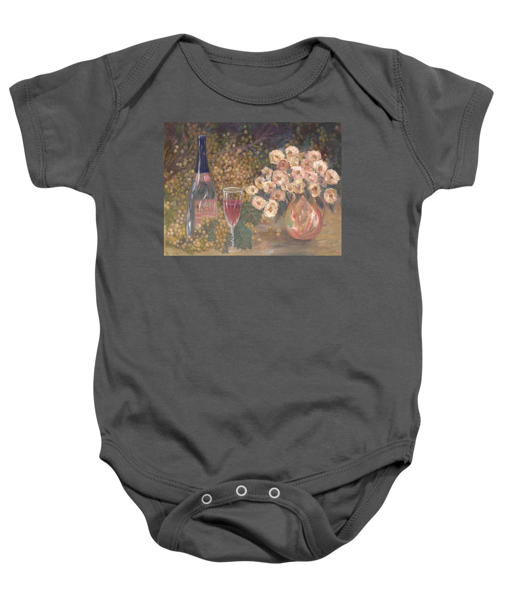 Stilllife; Floral; Wine Baby Onesie featuring the painting Wine And Roses by Ben Kiger