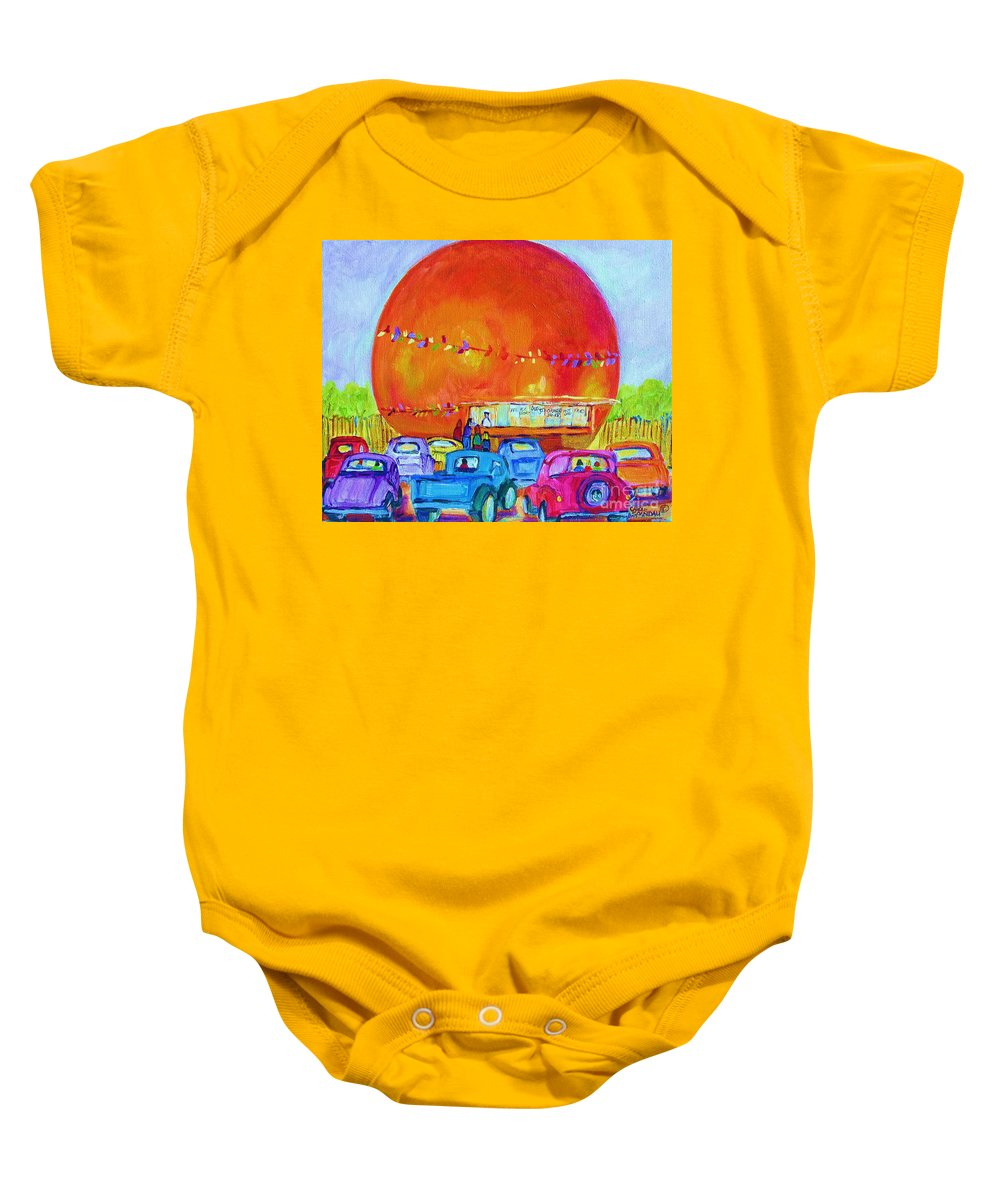 Cars Baby Onesie featuring the painting Antique Cars At The Julep by Carole Spandau