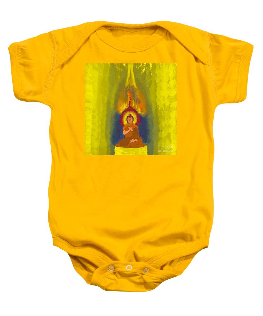 Abstract Baby Onesie featuring the painting Buddha by Stelios Kleanthous