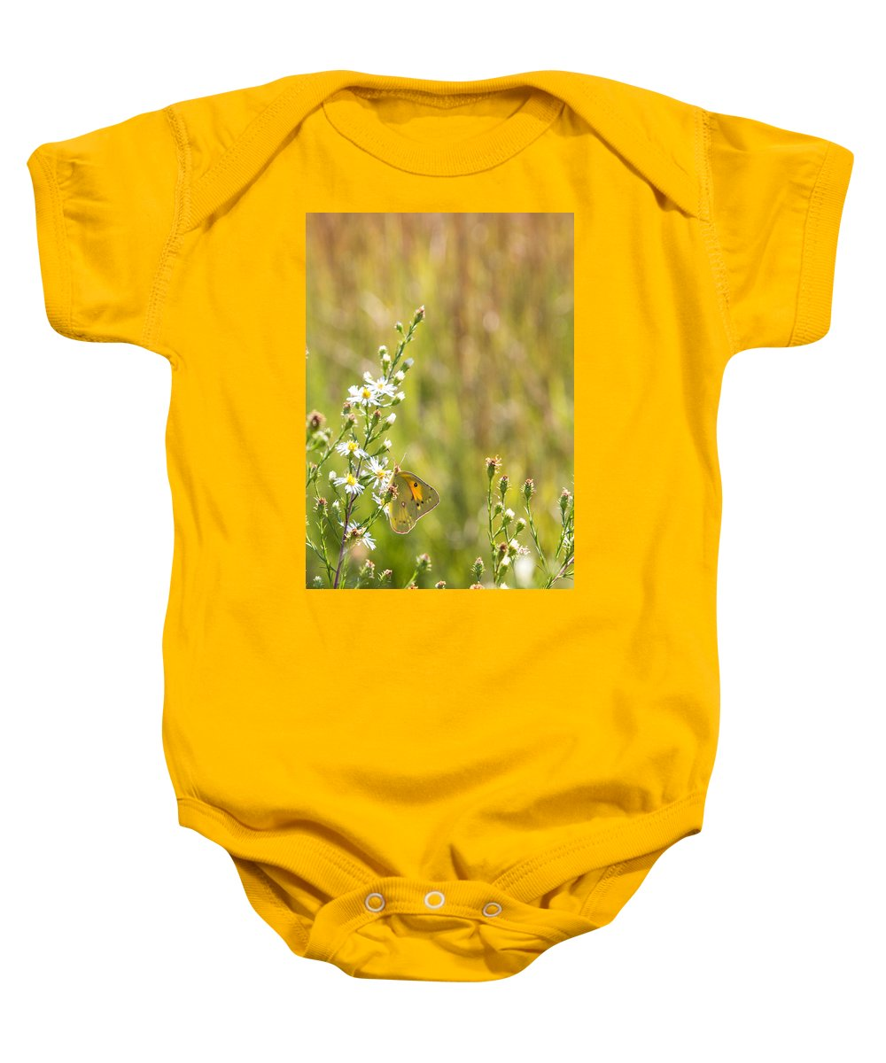 Butterfly Baby Onesie featuring the photograph Butterfly In A Field Of Flowers by Deb Buchanan