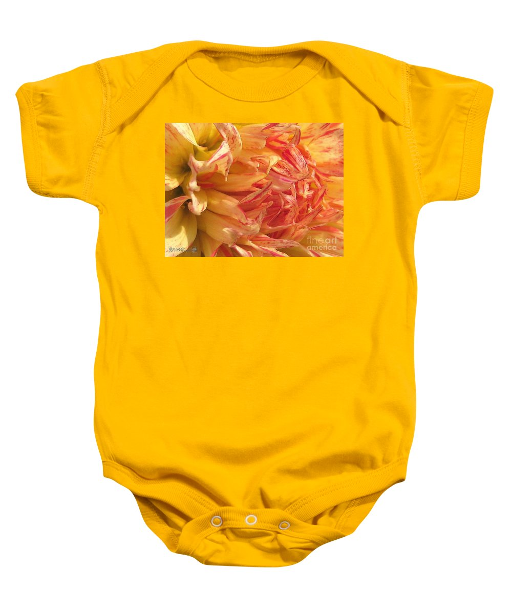 Dahlia Baby Onesie featuring the painting Dahlia Named Misty Explosion by J McCombie
