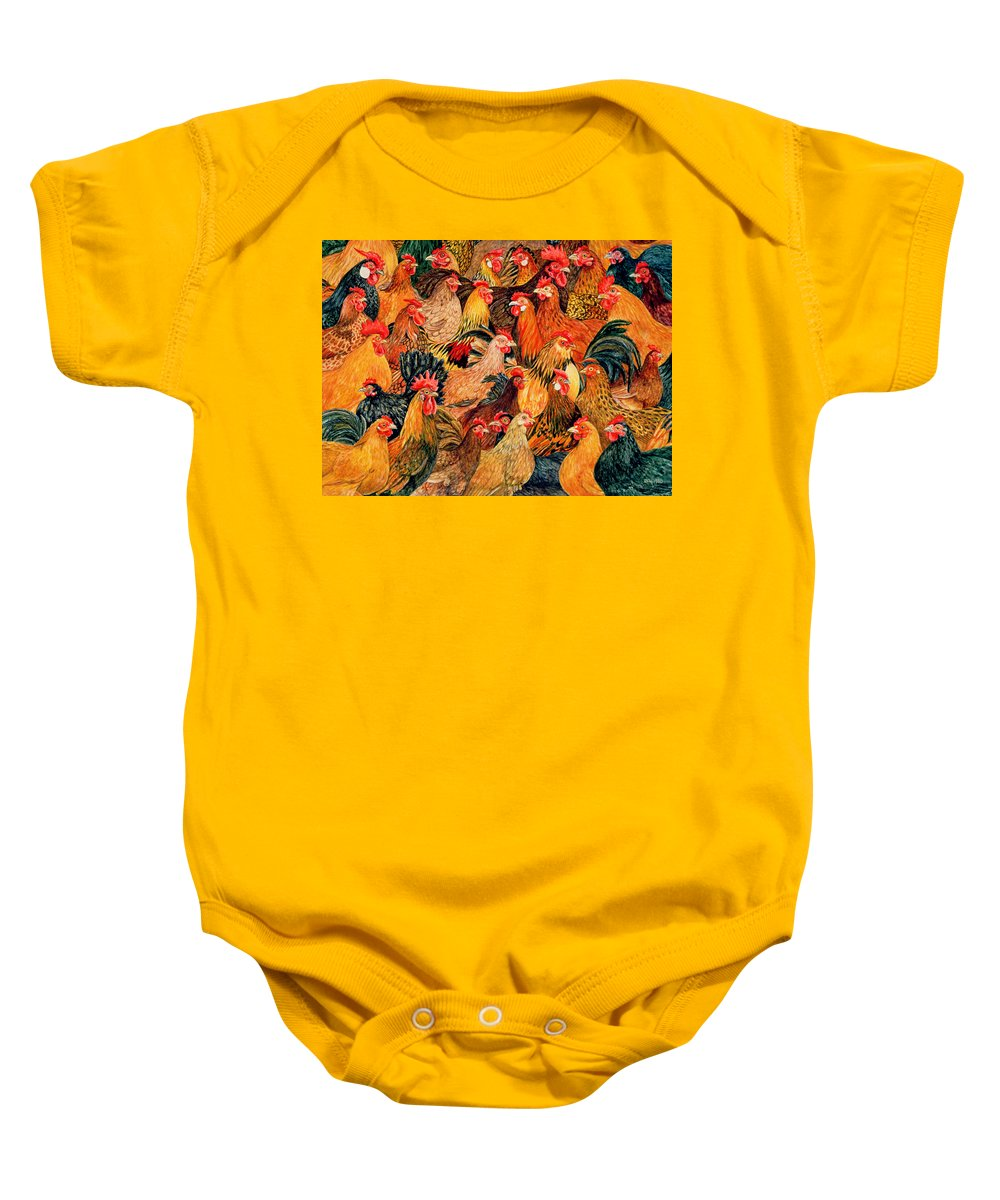 Chicken Baby Onesie featuring the painting Fine Fowl by Ditz