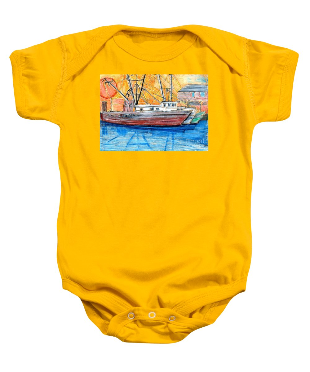 Fishing Baby Onesie featuring the drawing Fishing Trawler by Eric Schiabor