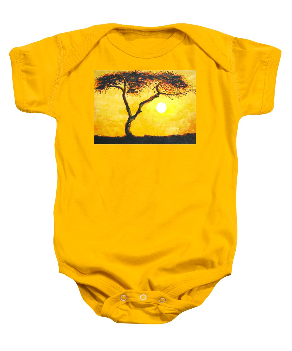 Desert Baby Onesie featuring the painting Flaming Tree by Linda Williams