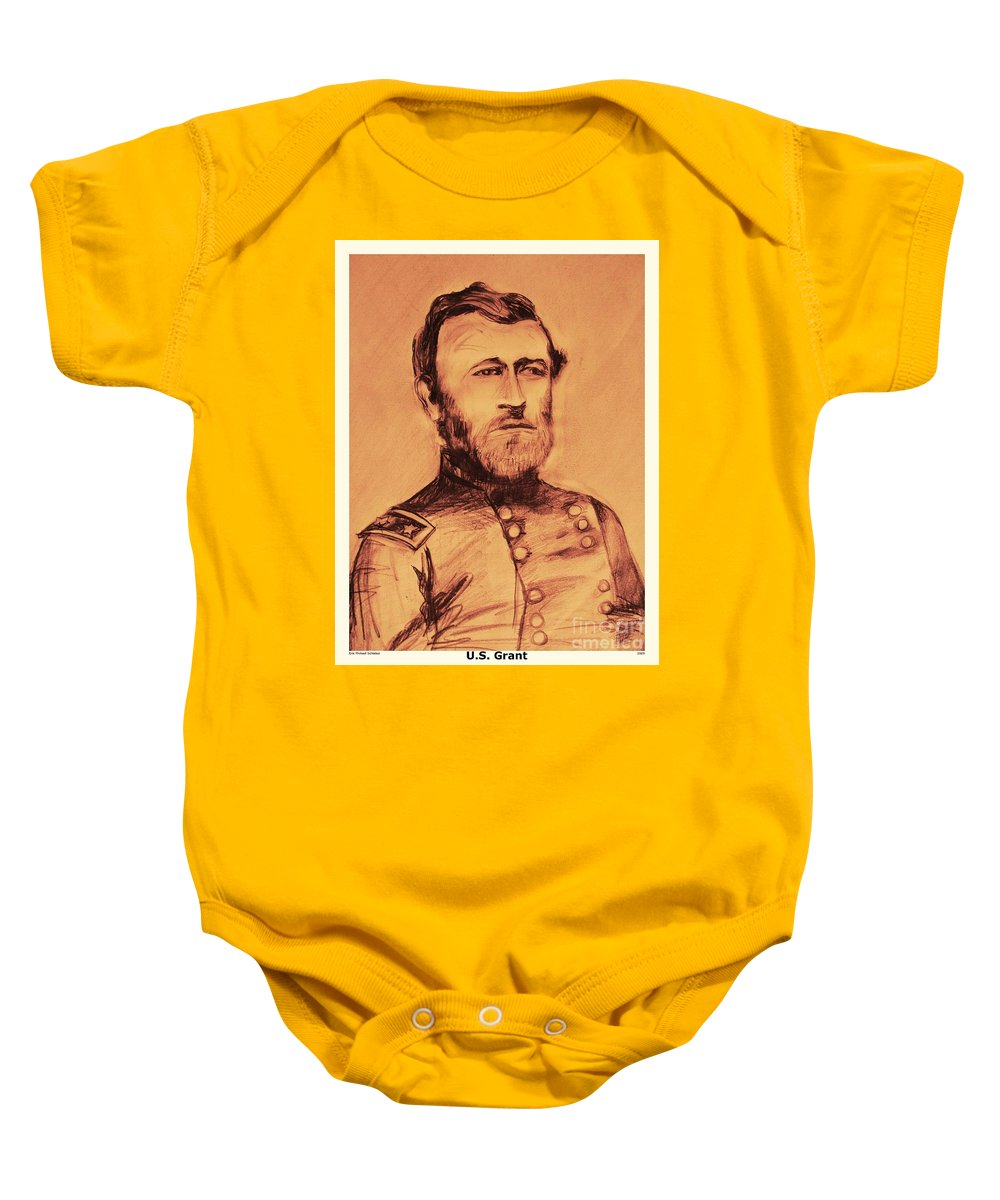Grant Baby Onesie featuring the painting General Us Grant by Eric Schiabor