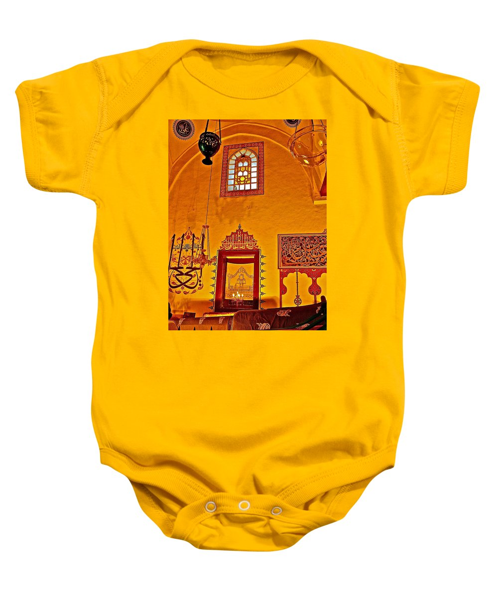 Room For Rumi's Sarcophagus In Konya Baby Onesie featuring the photograph Room For Rumi's Sarcophagus In Konya-turkey by Ruth Hager