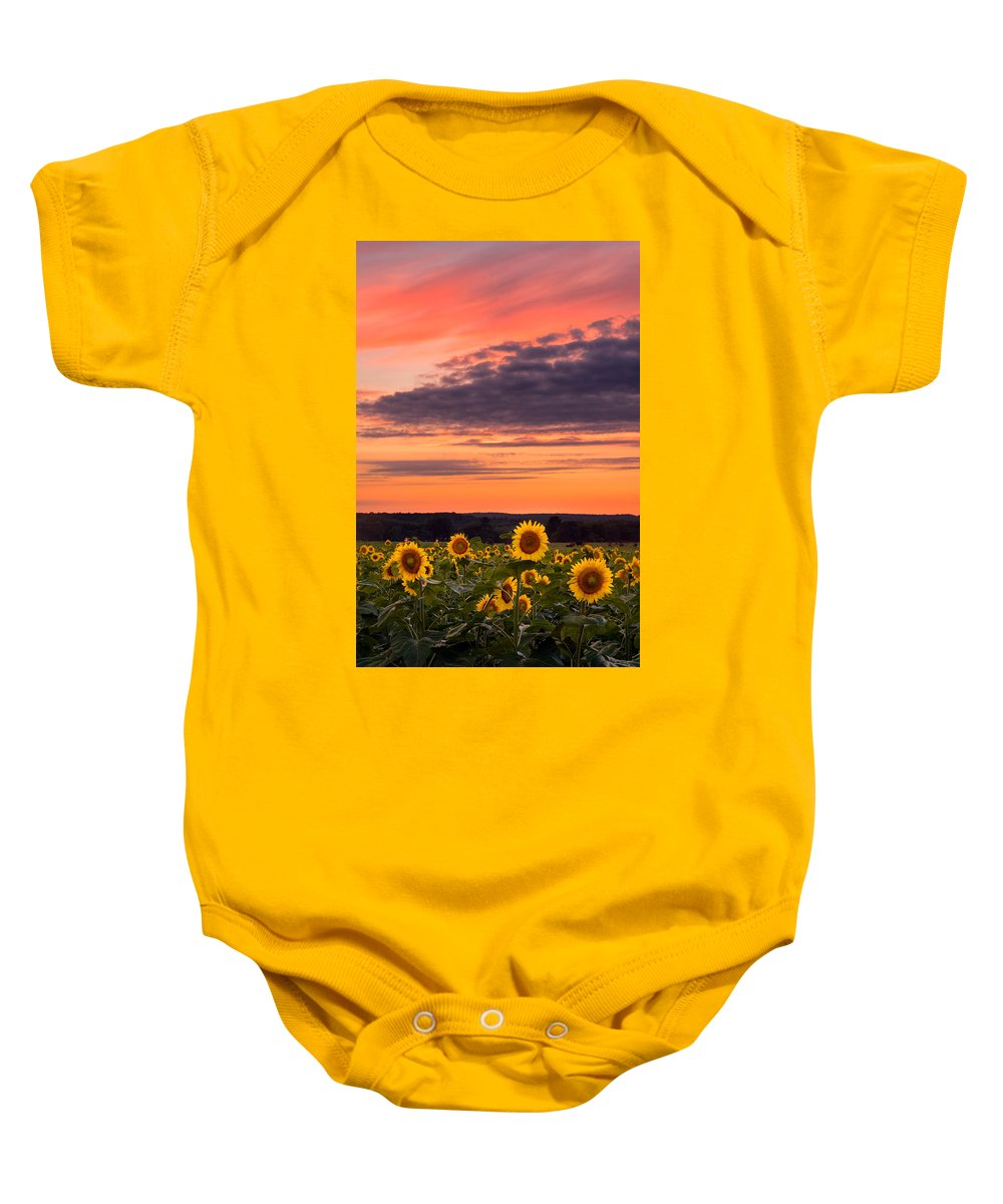 Buttonwood Farm Baby Onesie featuring the photograph Sun Over Sun by Michael Blanchette
