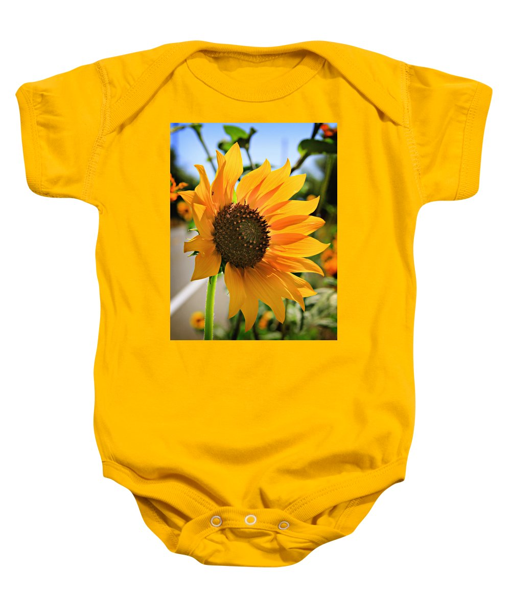 Sunflower Baby Onesie featuring the photograph Sunflower by Shawn McMillan