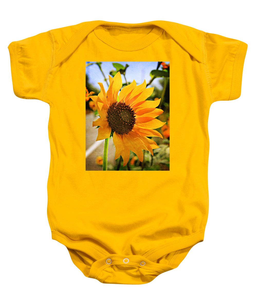 Sunflower Baby Onesie featuring the photograph Sunflower With Texture by Shawn McMillan