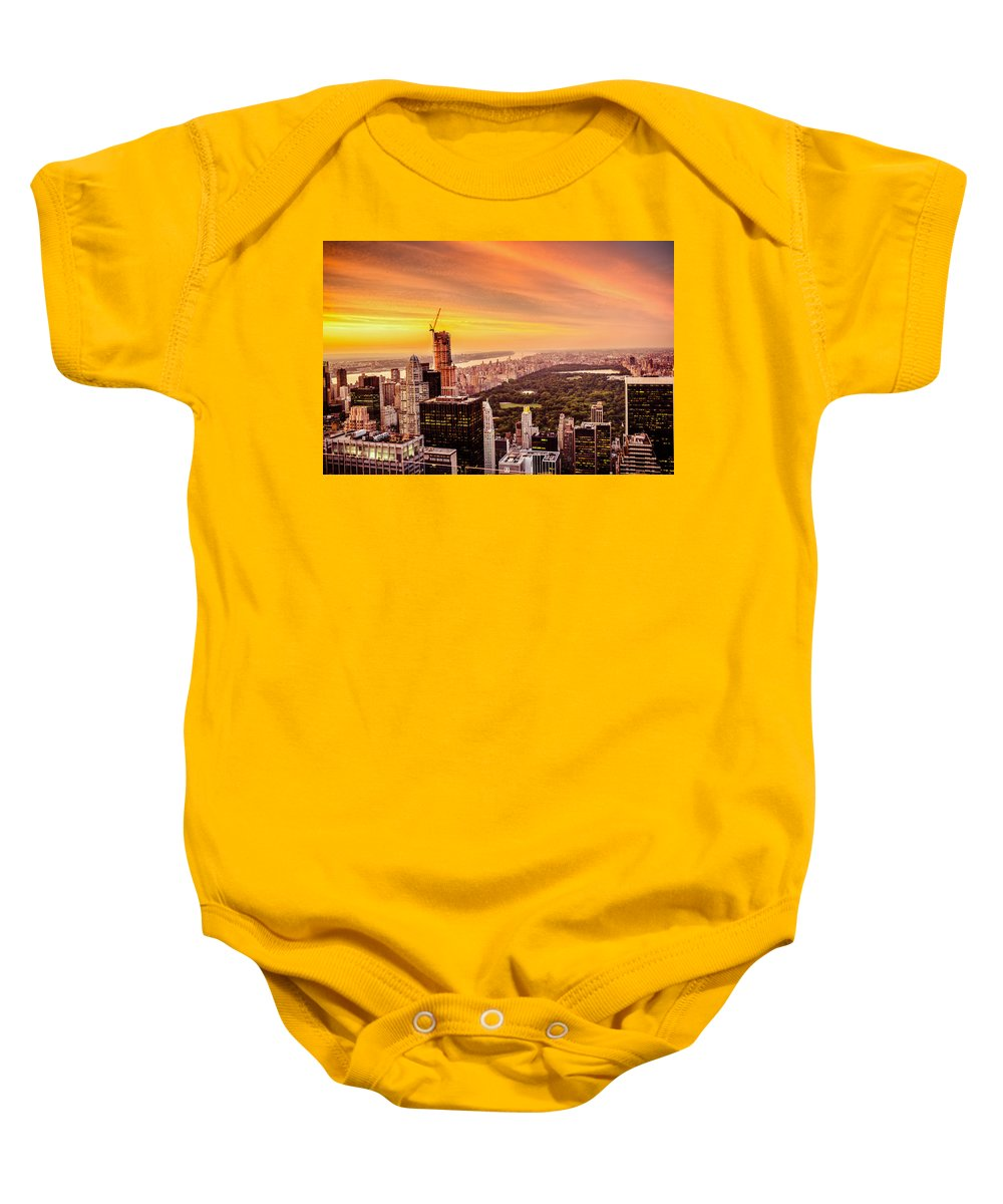 Nyc Baby Onesie featuring the photograph Sunset Over Central Park And The New York City Skyline by Vivienne Gucwa