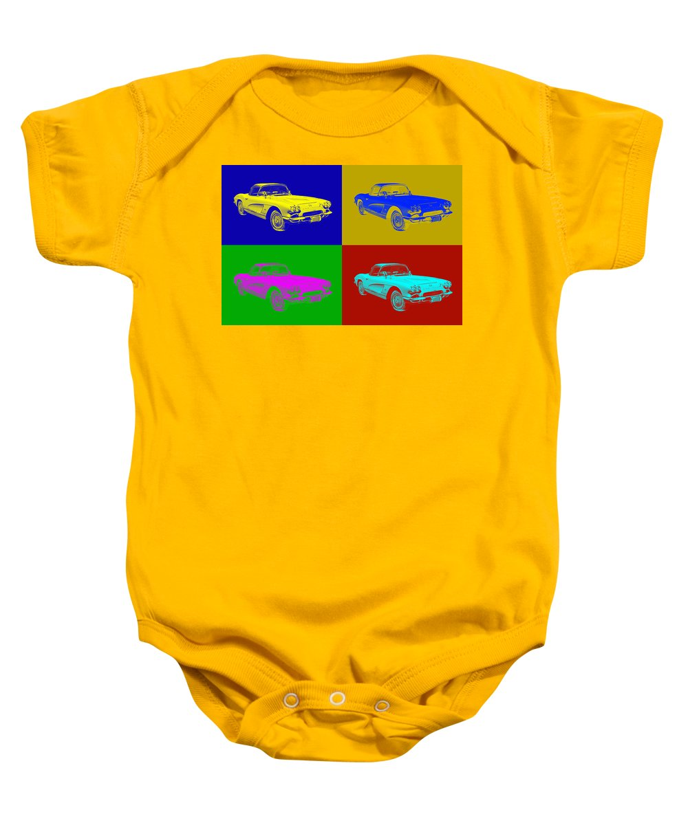 Antique Baby Onesie featuring the photograph 1962 Chevrolet Corvette Convertible Pop Art by Keith Webber Jr