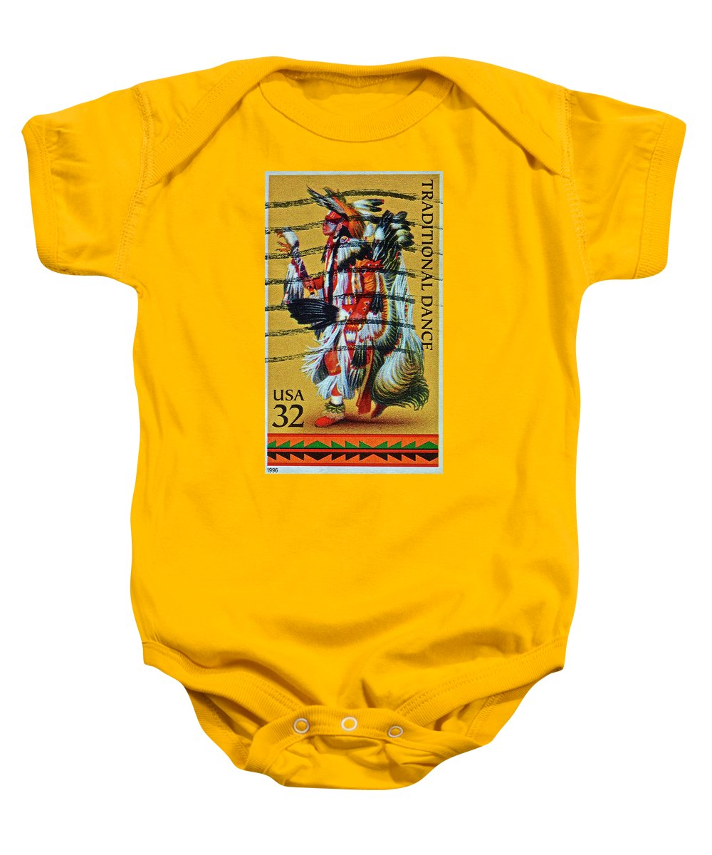 1996 Baby Onesie featuring the photograph 1996 Native American Stamp by Bill Owen
