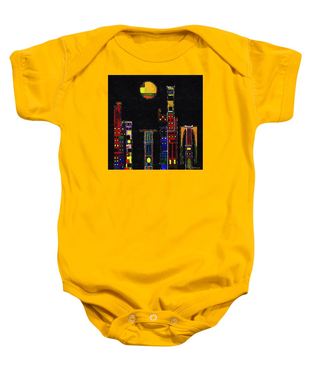 City Baby Onesie featuring the painting Chinatown by RC DeWinter