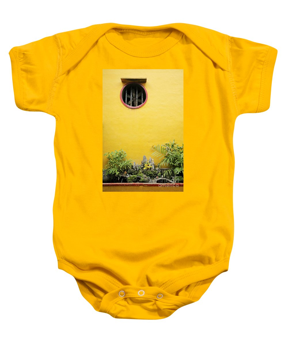 Architecture Baby Onesie featuring the photograph Chinese Temple Garden Detail In Vietnam by Jacek Malipan