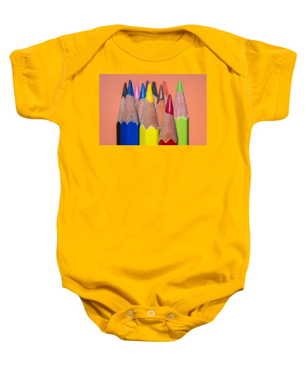 Pencil Baby Onesie featuring the photograph Color Pencil by Paulo Goncalves