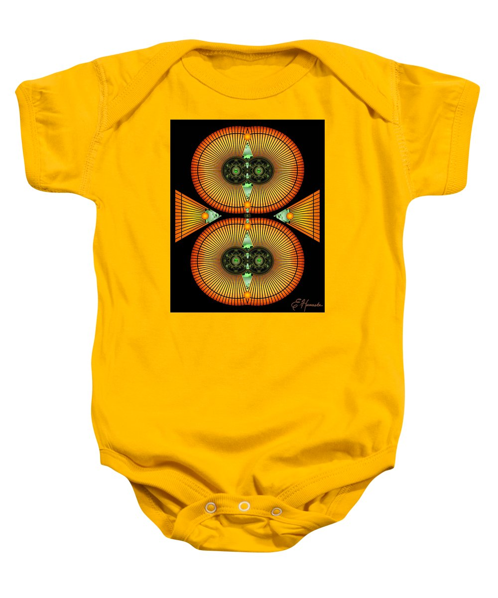 Cosmic Mitosis Baby Onesie featuring the mixed media Cosmic Mitosis by Ellen Henneke