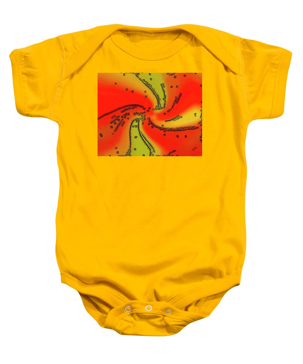 Red Abstract Baby Onesie featuring the digital art Fantasy In Red by Ben and Raisa Gertsberg