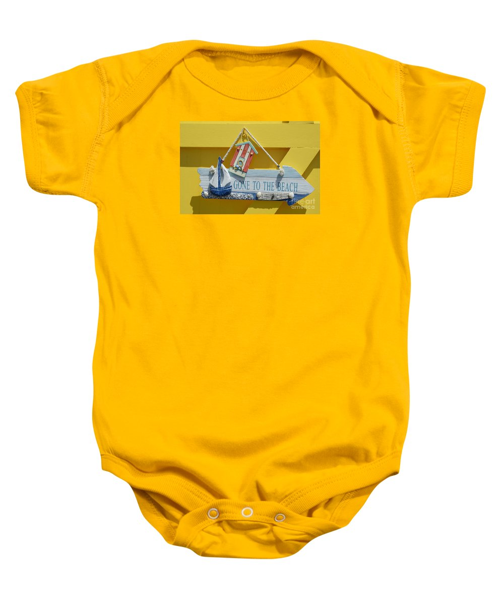 Gone To The Beach Baby Onesie featuring the photograph Gone To The Beach by Wendy Wilton