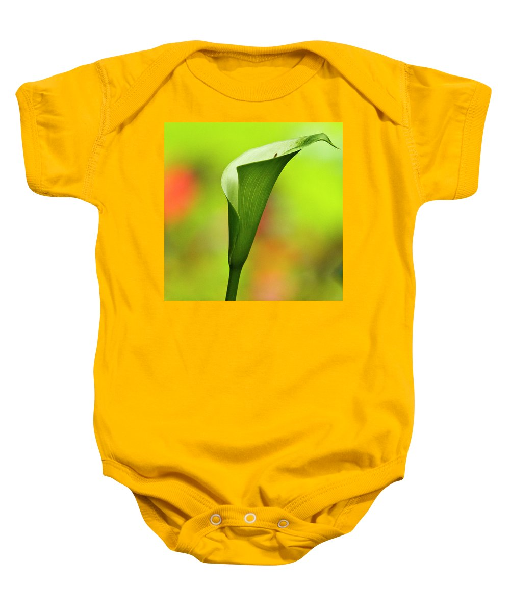 Calla Baby Onesie featuring the photograph Green Calla Lily by Heiko Koehrer-Wagner