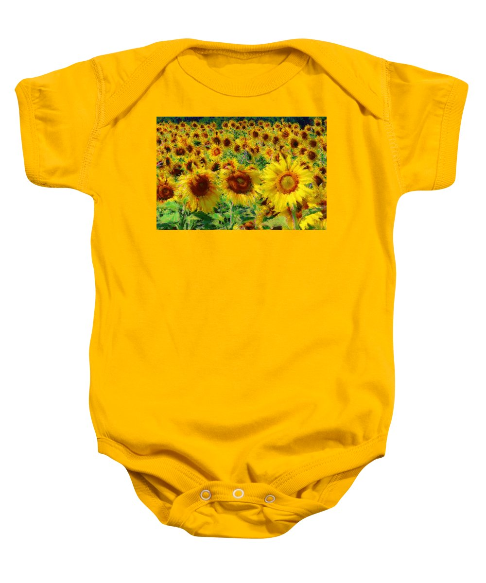 Sunflowers Baby Onesie featuring the photograph Sunny Sunflowers by Alice Gipson