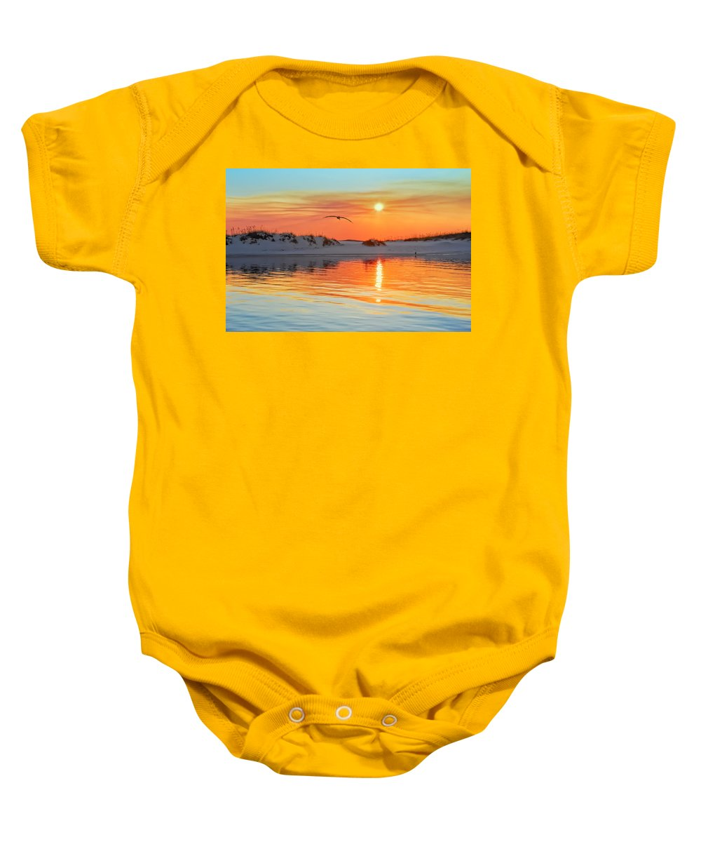 Sunset Baby Onesie featuring the photograph Sunswept by Janet Fikar