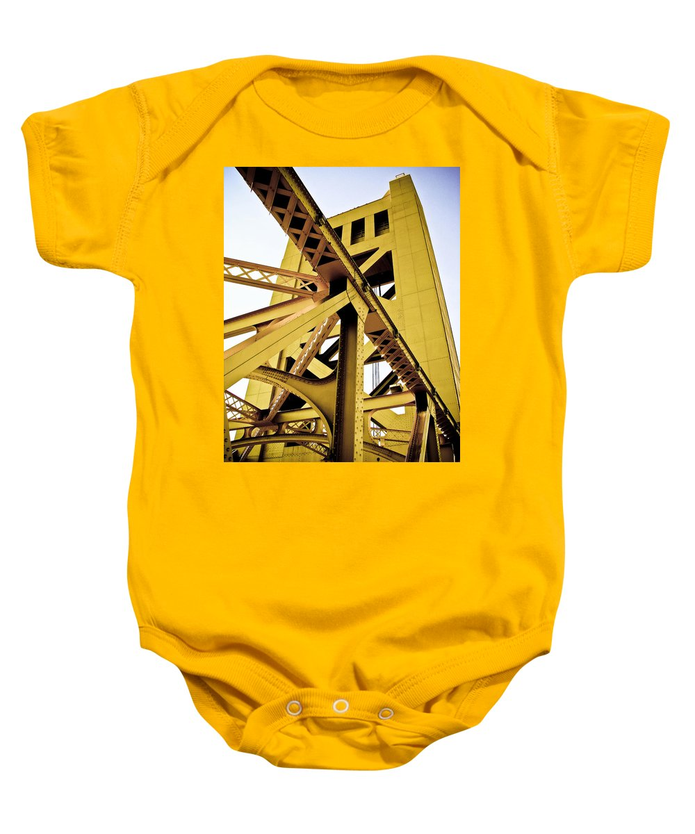 Streets Of Sacramento Baby Onesie featuring the photograph Tower Bridge by Digital Kulprits