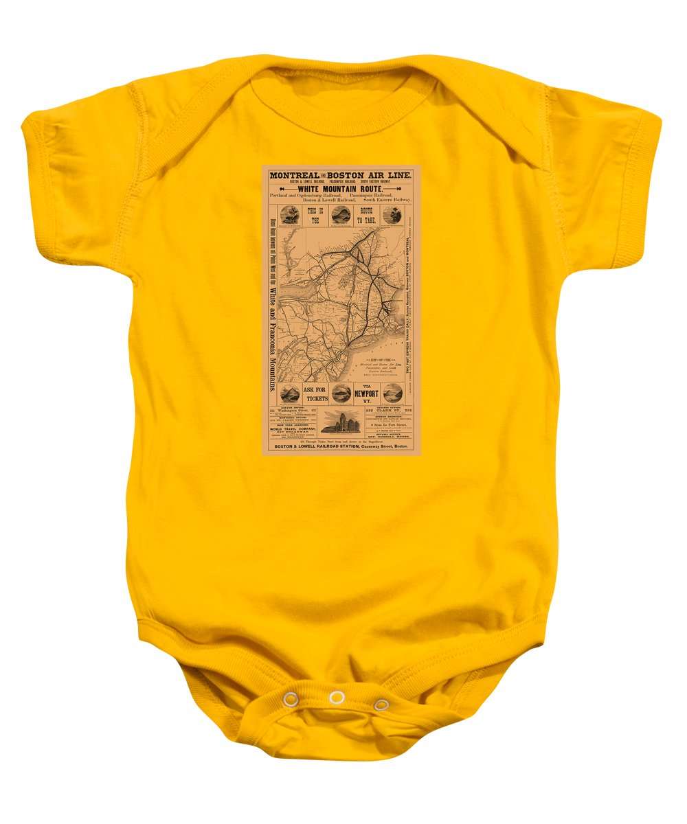 Train Baby Onesie featuring the photograph Vintage Train Ad 1887 by Andrew Fare