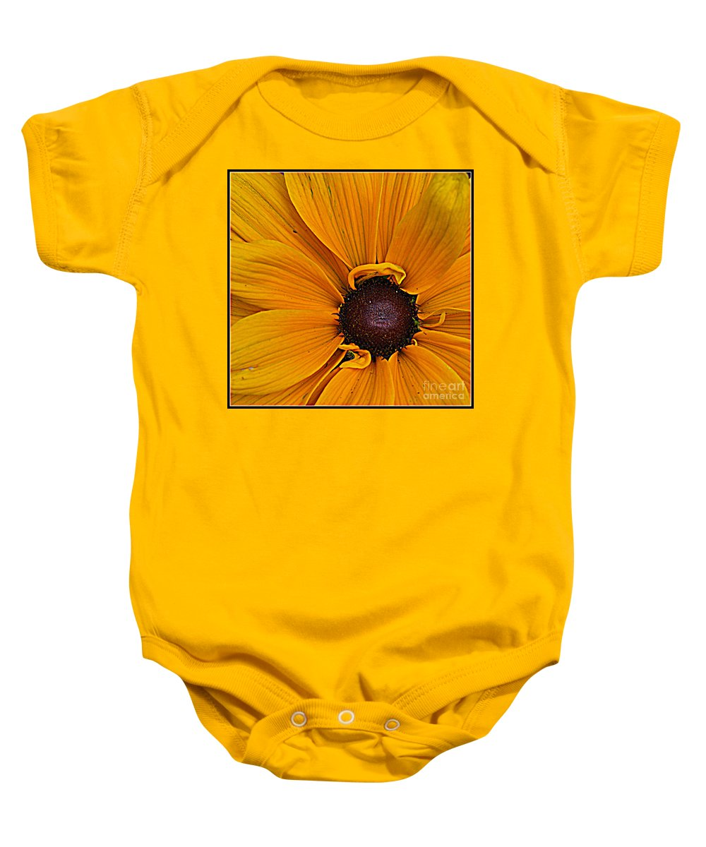 Susan Baby Onesie featuring the photograph Black Eyed Susan by Dora Sofia Caputo Photographic Design and Fine Art